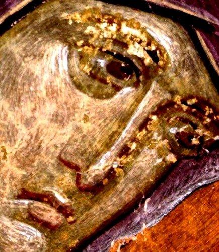 Лик Пресвятой Богородицы. Фреска церкви Святого Георгия в Старо Нагоричино, Македония. 1316 - 1318 годы. Иконописцы Михаил Астрапа и Евтихий.