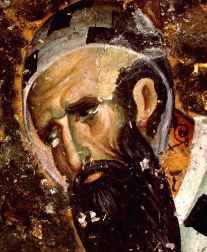 Святитель Кирилл, Архиепископ Александрийский. Фреска церкви Святой Троицы в монастыре Сопочаны, Сербия. 1265 год.