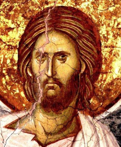 """Лик Спасителя. Фрагмент фрески """"Преображение Господне"""". Монастырь Высокие Дечаны, Косово, Сербия. Около 1350 года."""