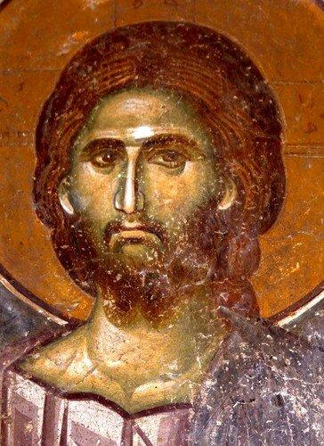 """Христос Спаситель. Фреска церкви Вознесения Господня (""""Спасов дом"""") в монастыре Жича, Сербия. 1309 - 1316 годы."""