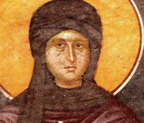 Святая Первомученица Равноапостольная Фекла. Фреска монастыря Грачаница, Косово, Сербия. Около 1320 года.