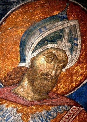 Святой Великомученик Меркурий Кесарийский. Фреска монастыря Высокие Дечаны, Косово, Сербия. Около 1350 года.