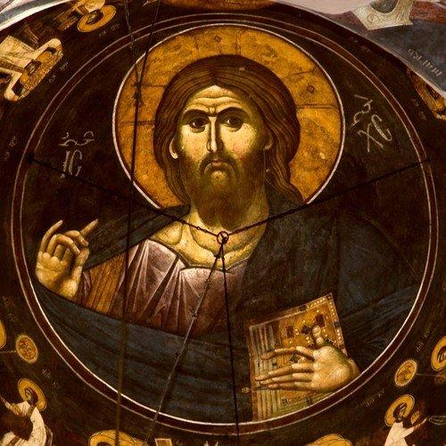 Христос Пантократор и Небесная Литургия. Фреска центрального купола церкви Успения Пресвятой Богородицы в монастыре Грачаница, Косово, Сербия. Около 1320 года.