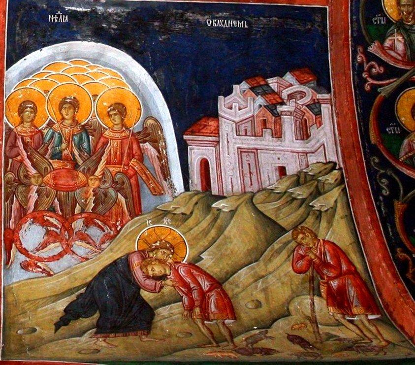 Притча о блудном сыне. Фреска притвора монастыря Печская Патриархия, Косово, Сербия. XVI век.