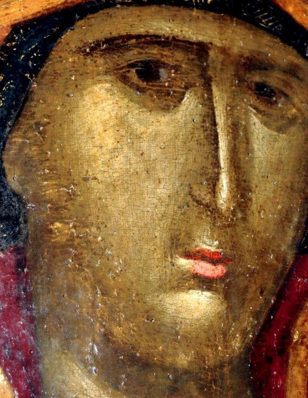 Богоматерь Одигитрия. Византийская икона XIV века. Сербский монастырь Хиландар на Афоне. Фрагмент.