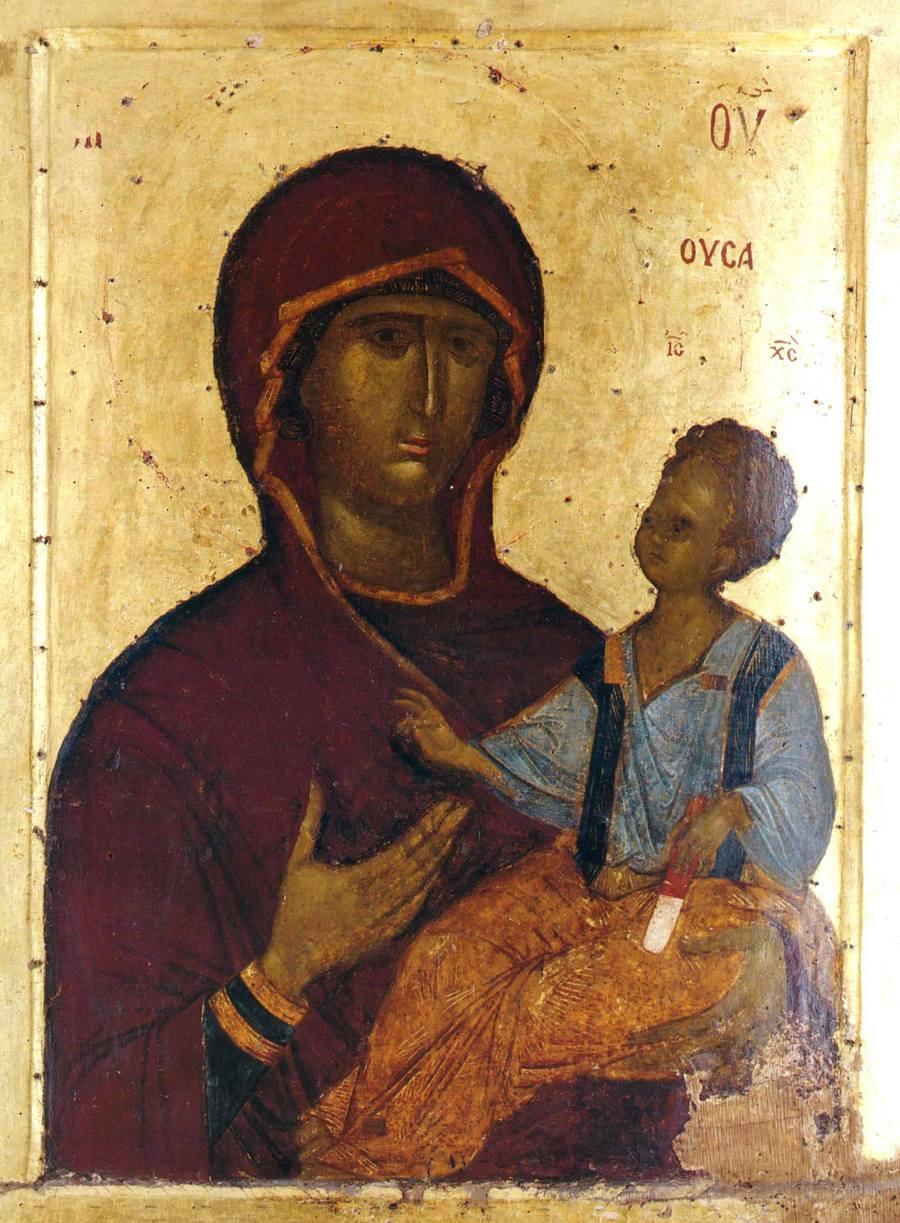 Богоматерь Одигитрия. Византийская икона XIV века. Сербский монастырь Хиландар на Афоне.