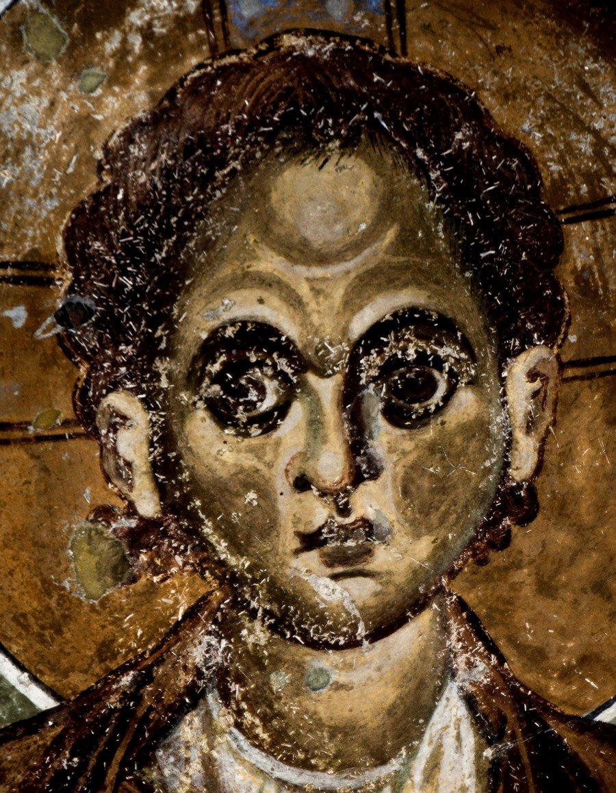 Христос Эммануил. Фреска церкви Богородицы Елеусы в Велюсе, Македония. Начало XII века. Фрагмент.