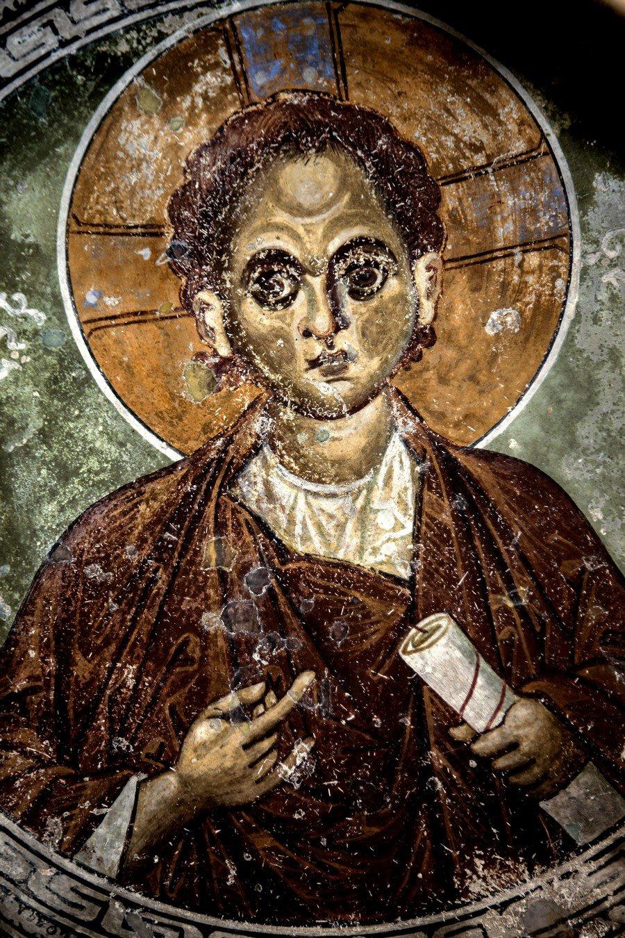 Христос Эммануил. Фреска церкви Богородицы Елеусы в Велюсе, Македония. Начало XII века.