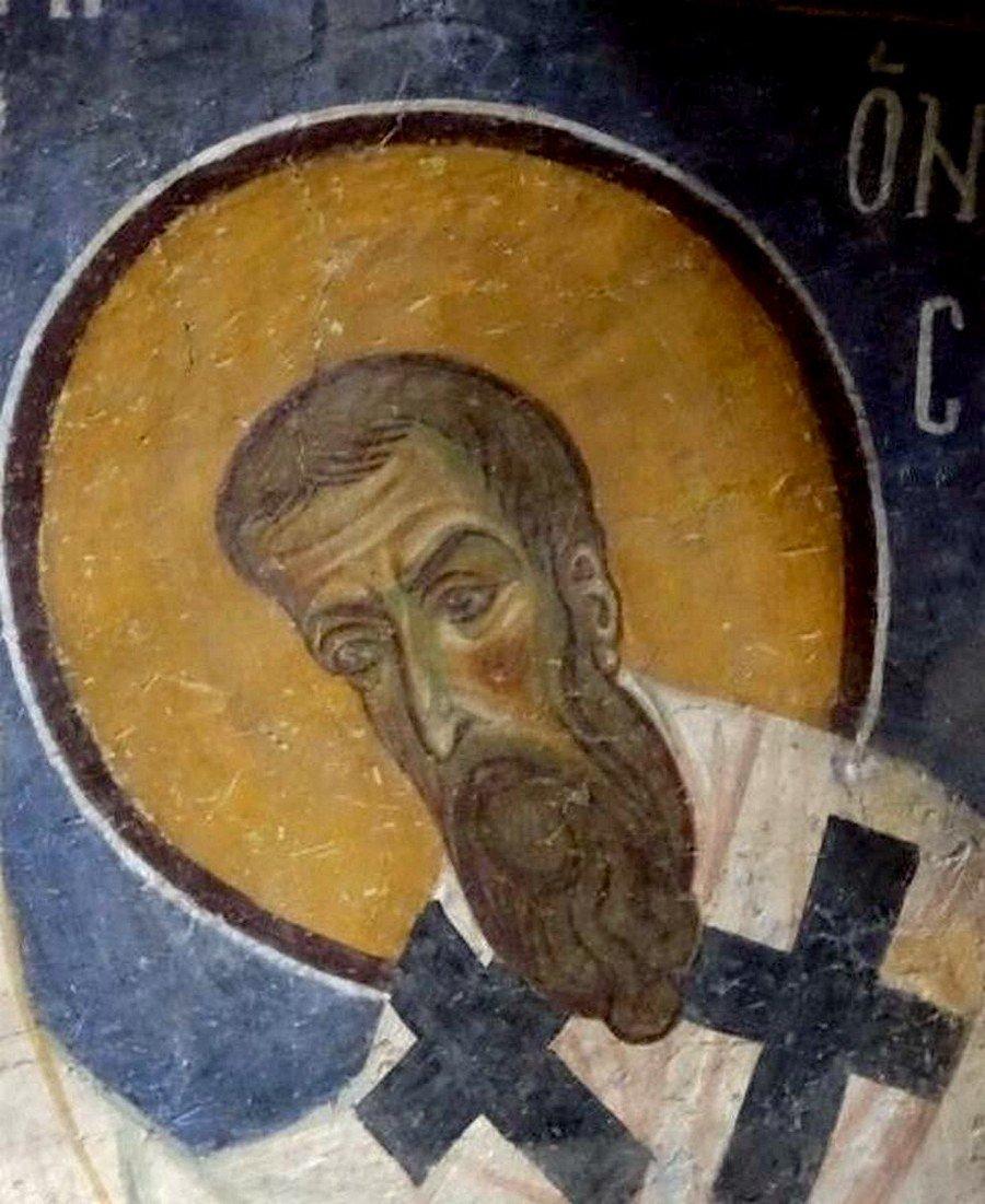 Святитель Григорий, Епископ Нисский. Фреска церкви Святого Пантелеимона в Нерези близ Скопье, Македония. 1164 год.