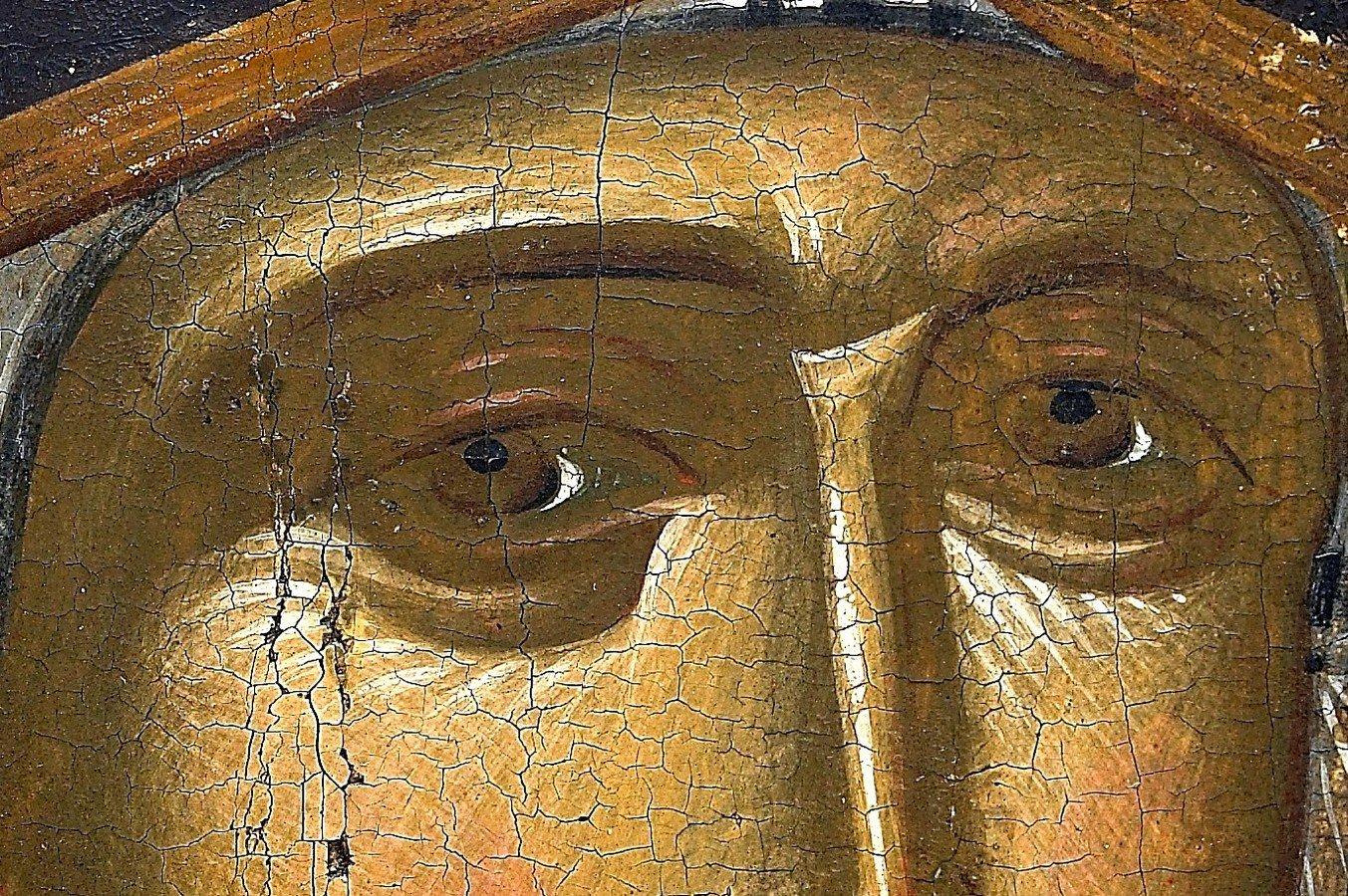 Богоматерь Одигитрия. Византийская икона XIV века. Монастырь Ватопед на Афоне. Фрагмент.