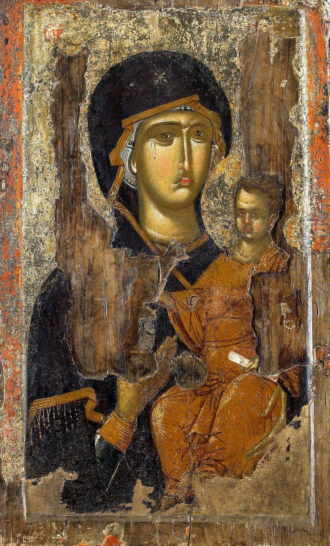 Богоматерь Одигитрия. Византийская икона XIV века. Монастырь Ватопед на Афоне.