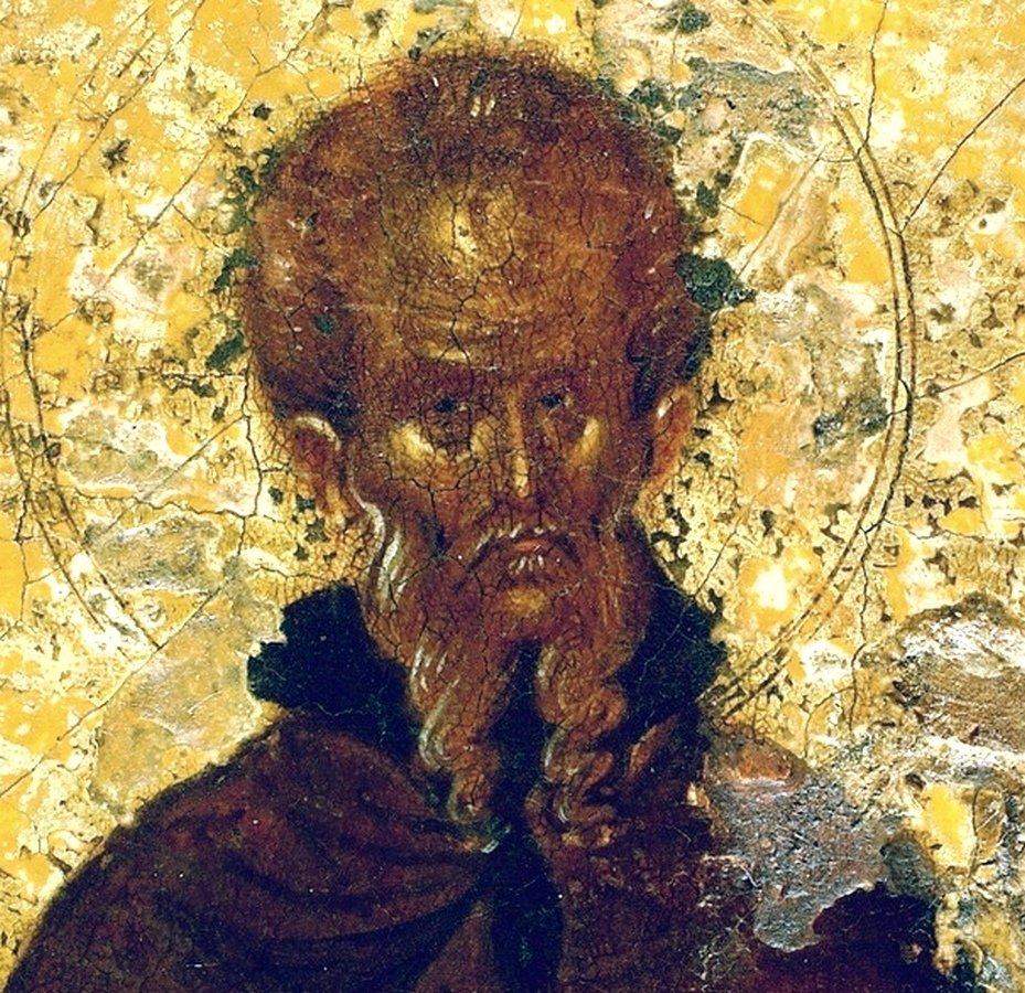 Святой Преподобный Феодосий Великий, общих житий начальник. Византийская икона в монастыре Ватопед на Афоне. Фрагмент.