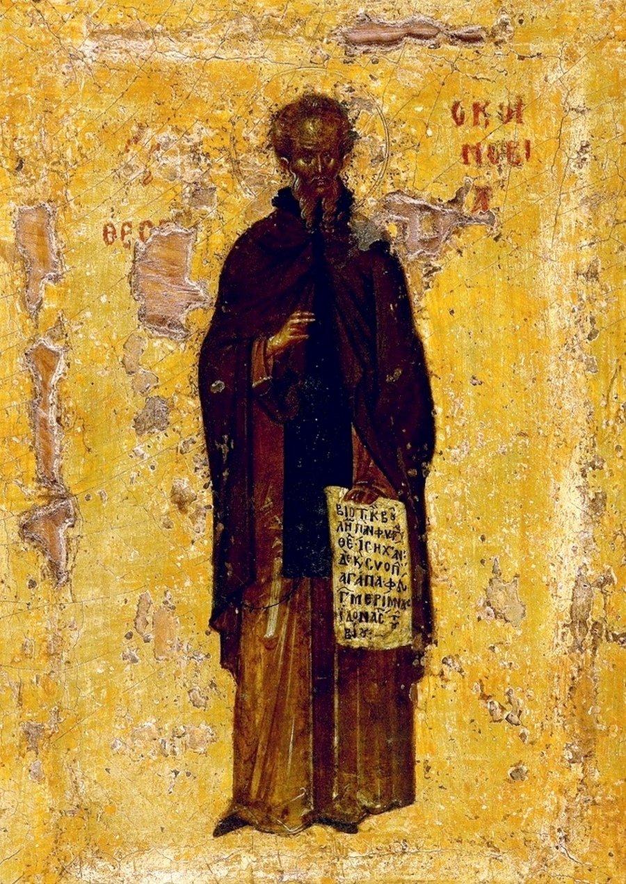 Святой Преподобный Феодосий Великий, общих житий начальник. Византийская икона в монастыре Ватопед на Афоне.