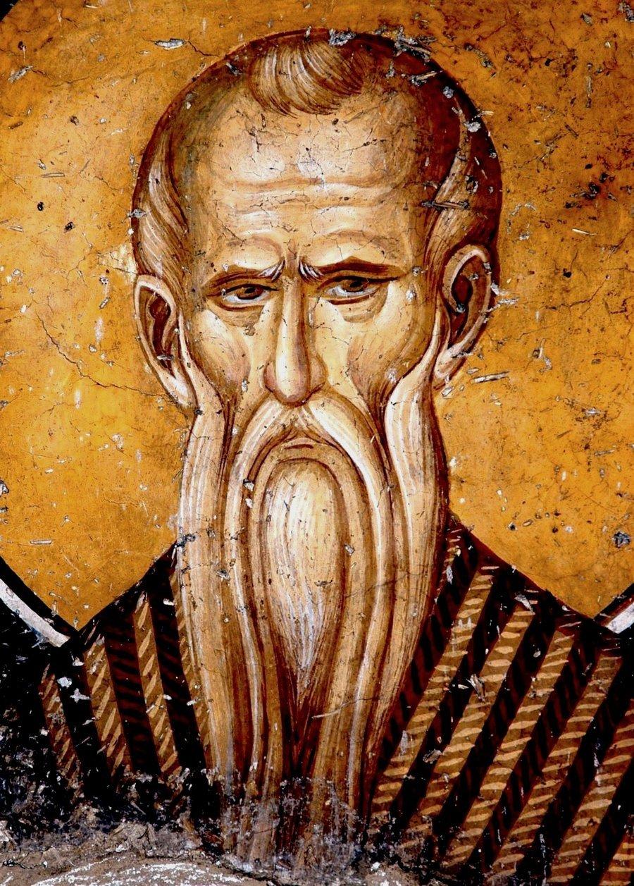 Святой Преподобный Павел Фивейский. Фреска монастыря Панагии Олимпиотиссы в Элассоне, Греция. Конец XIII - XIV в.