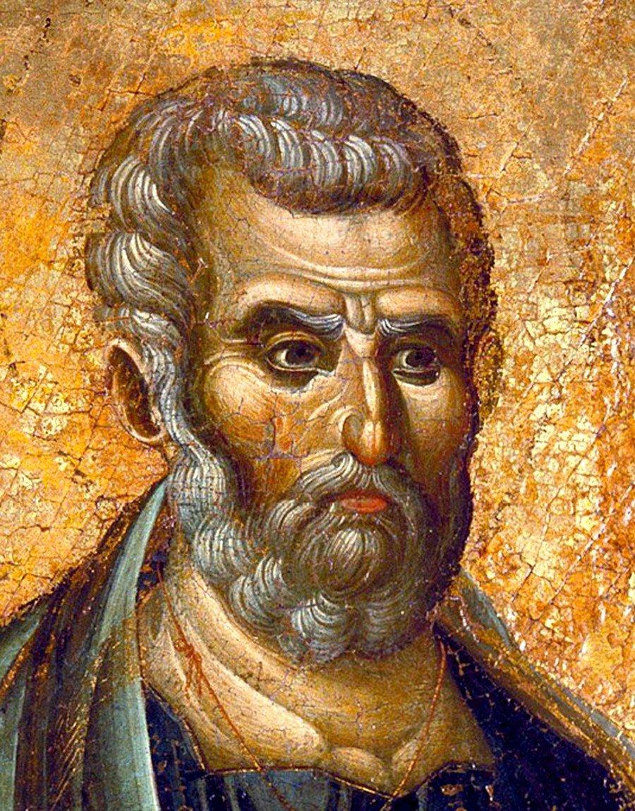 Святой Апостол Пётр. Византийская икона конца XIII века. Лик.