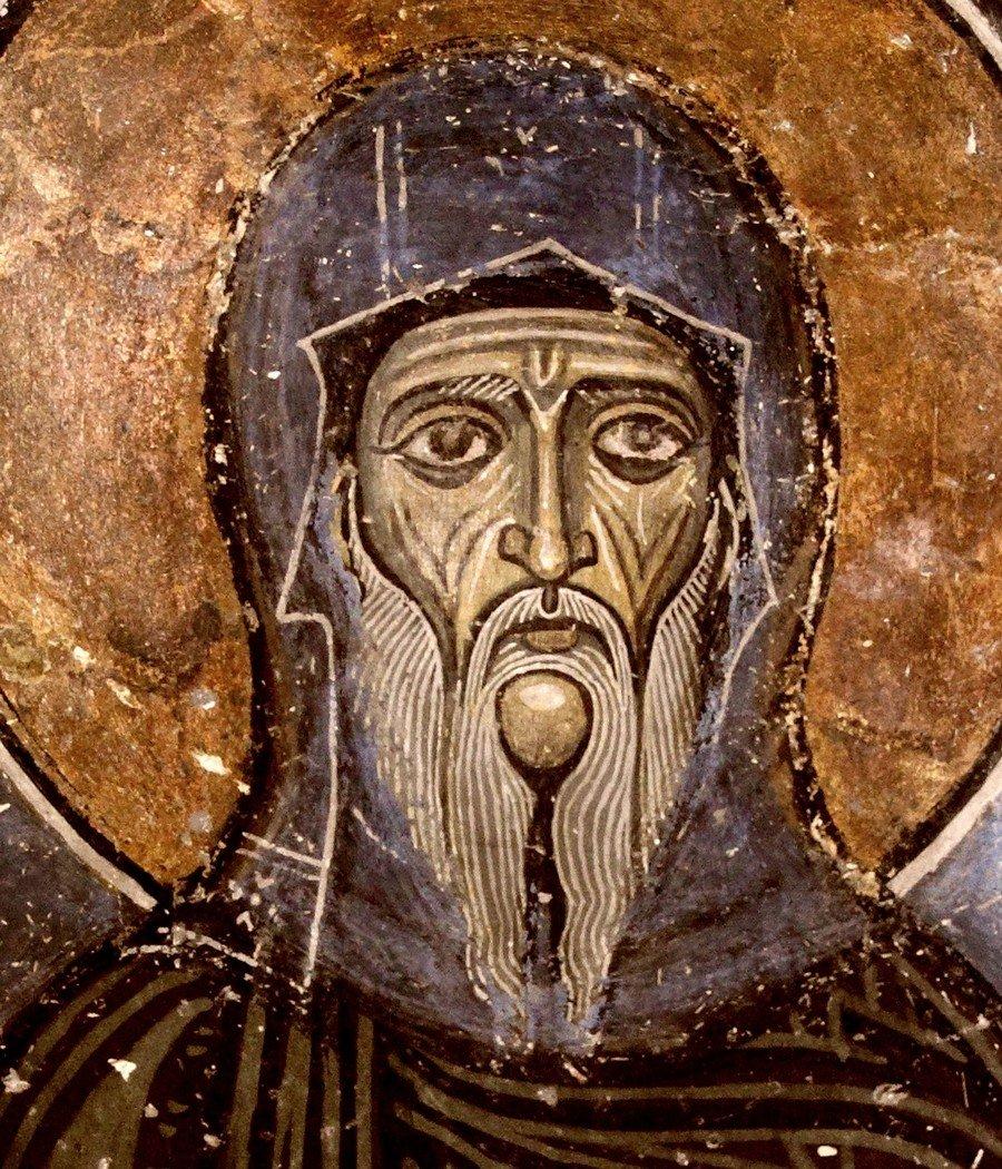 Святой Преподобный Антоний Великий. Фреска монастыря Святого Неофита Затворника на Кипре. Конец XII века.