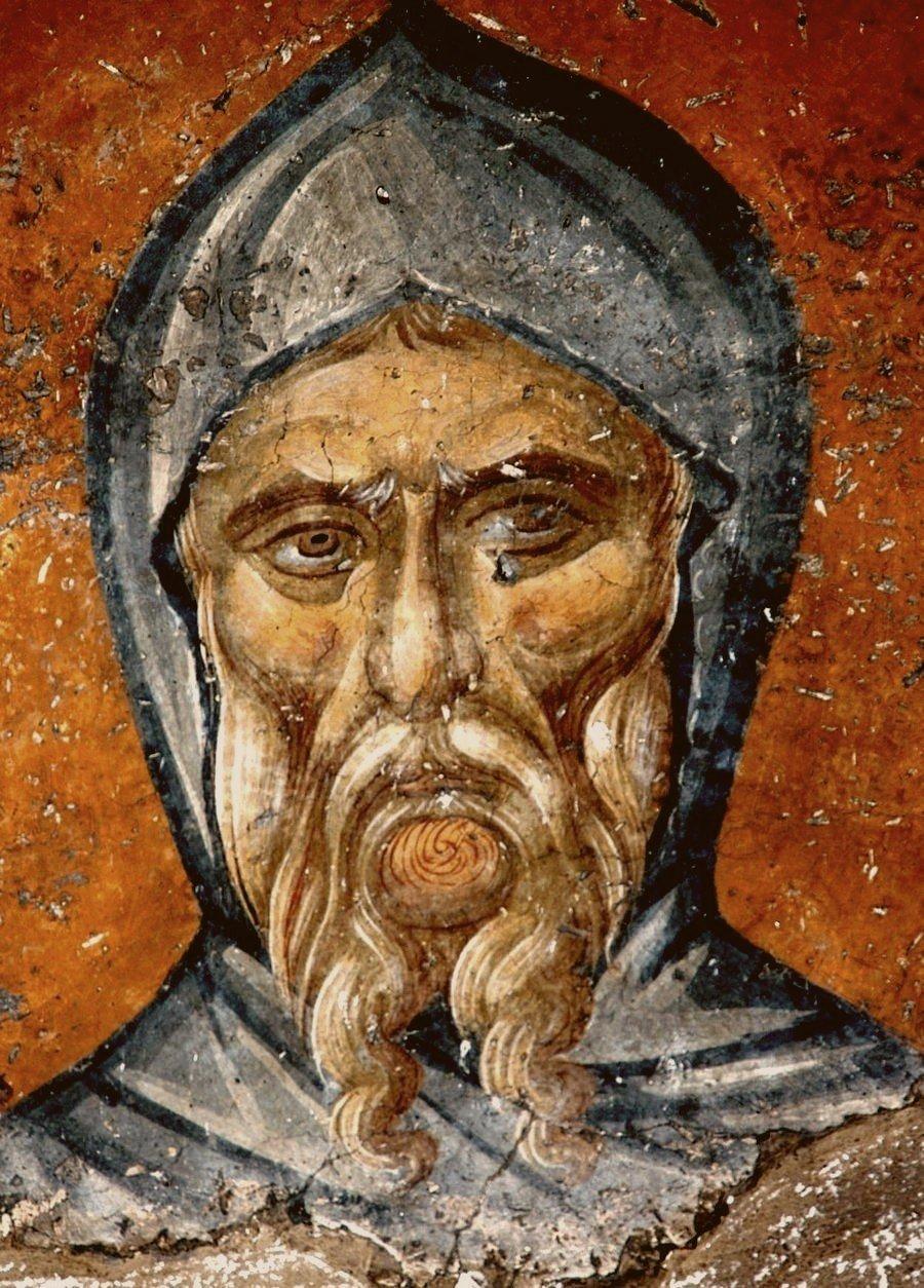 Святой Преподобный Антоний Великий. Фреска монастыря Панагии Олимпиотиссы в Элассоне, Греция. Конец XIII - XIV в.