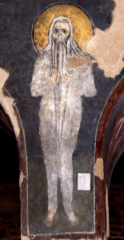 Святой Преподобный Макарий Великий, Египетский. Византийская фреска в церкви Старая Митрополия в Верии, Греция.