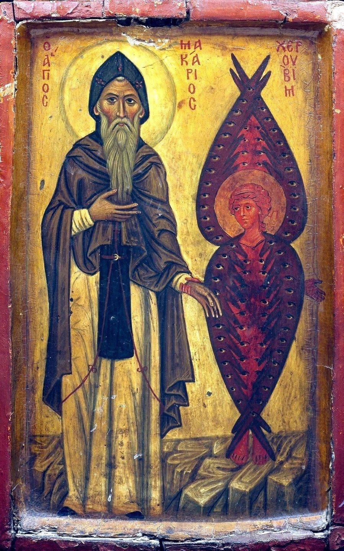 Святой Преподобный Макарий Великий, Египетский, и Херувим. Византийская икона в монастыре Святой Екатерины на Синае.
