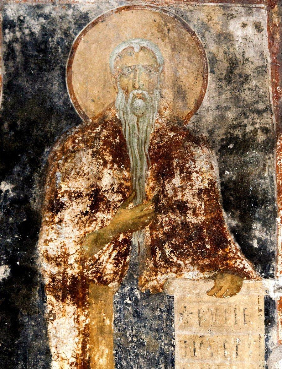 Святой Преподобный Евфимий Великий. Фреска церкви Святого Димитрия Кацуриса в Арте, Греция. Конец XIII века.