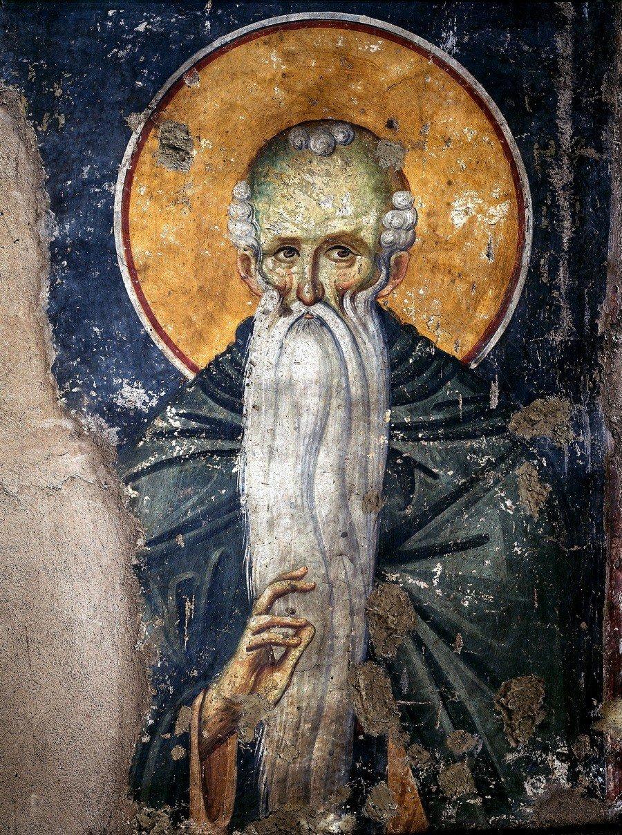 Святой Преподобный Евфимий Великий. Фреска храма Протатон (Протат) на Афоне. Конец XIII века. Иконописец Мануил Панселин.