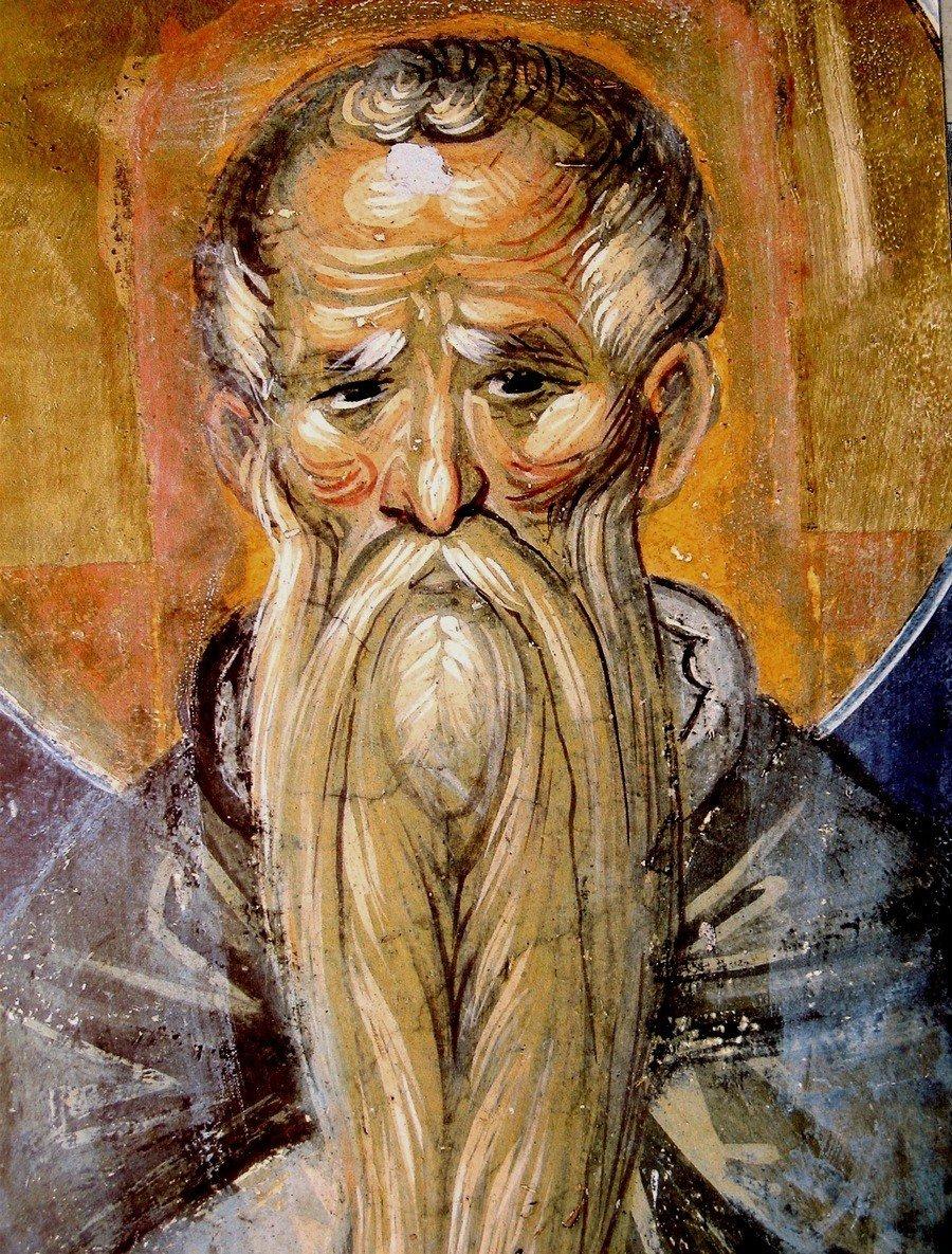 Святой Преподобный Евфимий Великий. Фреска монастыря Пантократор на Афоне. 1363 год.
