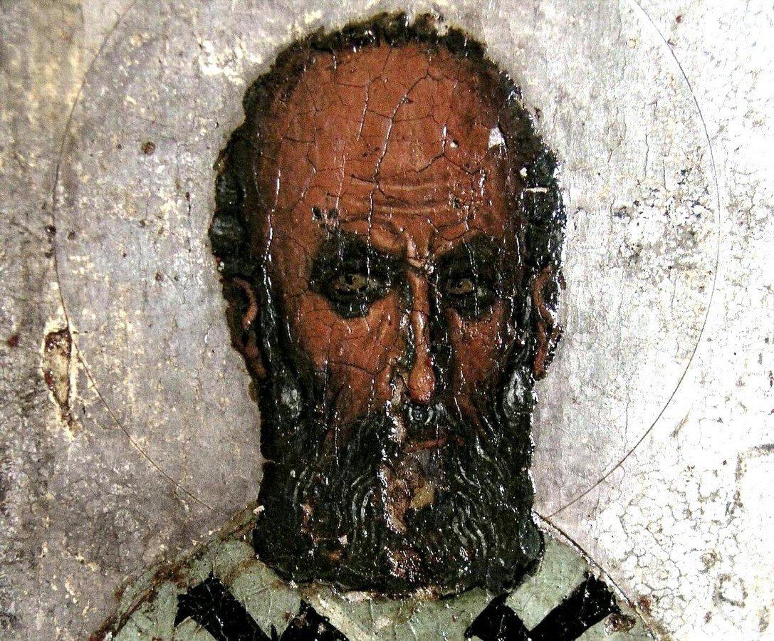Святитель Григорий Богослов. Фрагмент византийской иконы. Около 1193 года. Иконописец Апсевд Феодор. Византийский музей Архиепископа Макария III в Никосии, Кипр.