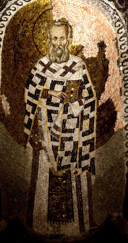 Святитель Григорий Богослов. Мозаика церкви Богородицы Паммакаристос (Всеблаженной) в Константинополе. XIV век.