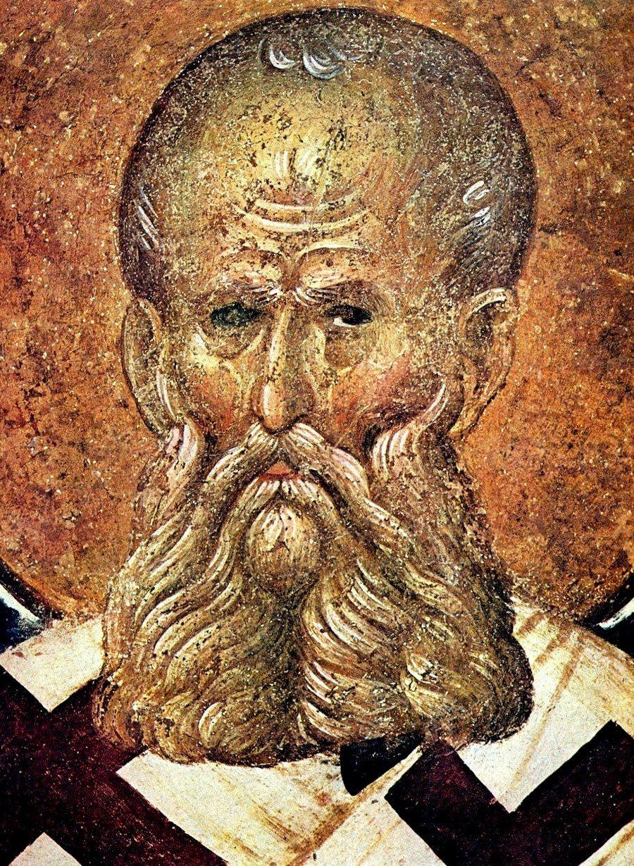 Святитель Григорий Богослов. Фреска монастыря Хора в Константинополе. 1315 - 1321 годы.