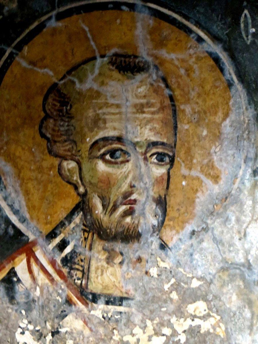 Святитель Иоанн Златоуст. Фреска церкви Святого Георгия в Мурне на Крите.