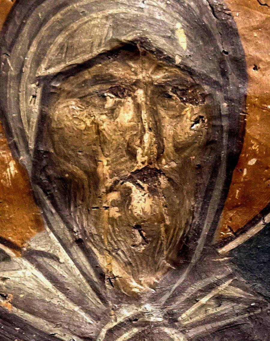 Святой Преподобный Ефрем Сирин. Фреска церкви Святого Николая Орфаноса в Салониках, Греция. 1310 - 1315 годы.