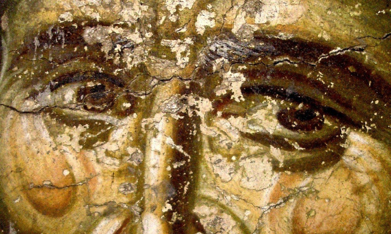 Святой Преподобный Ефрем Сирин. Фреска храма Протатон (Протат) на Афоне. Конец XIII века. Иконописец Мануил Панселин.