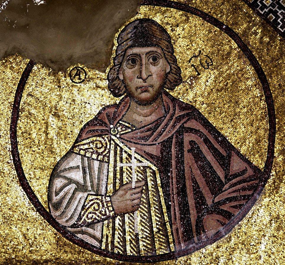 Святой Мученик Иоанн Александрийский, врач безмездный. Мозаика монастыря Осиос Лукас, Греция. 1030 - 1040-е годы.