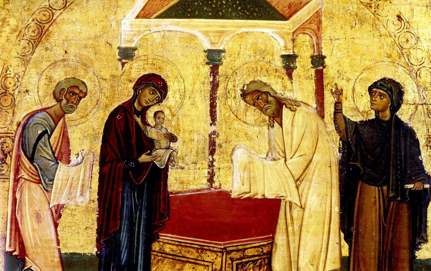 Сретение Господне. Фрагмент византийской иконы XI - XII веков. Монастырь Святой Екатерины на Синае.