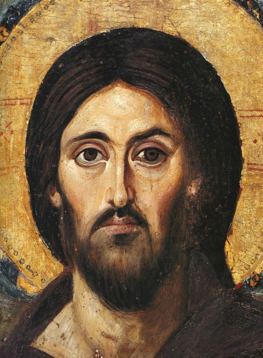 """Лик Спасителя. Фрагмент иконы """"Христос Пантократор"""" из Синайского монастыря. Византия, середина VI века."""