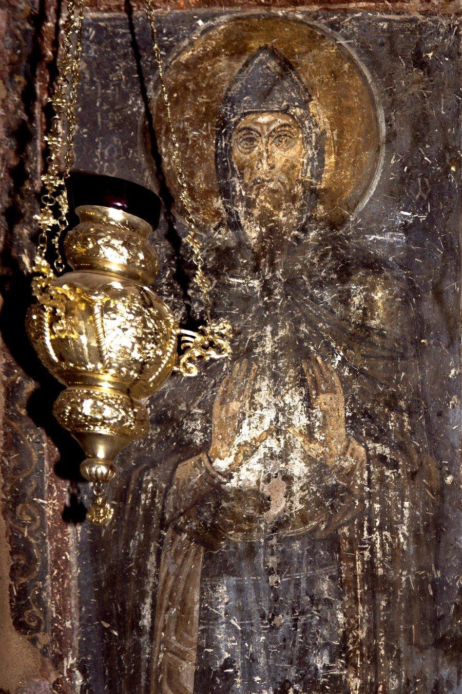 Святой Преподобный Лука Елладский. Фреска церкви Святого Димитрия в Салониках, Греция. XII век.