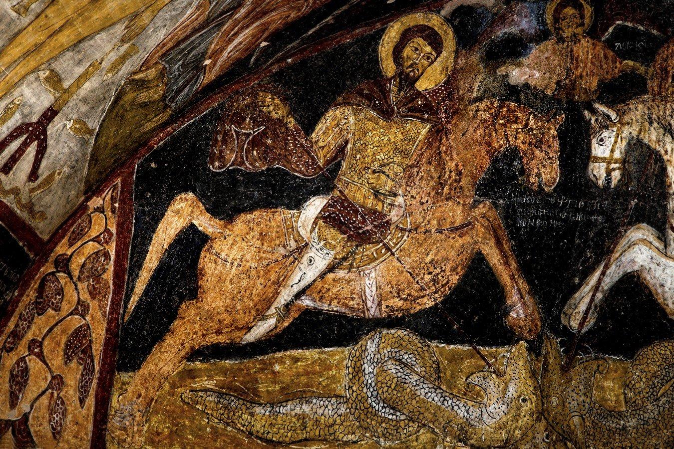 Святой Великомученик Феодор Стратилат. Византийская фреска в церкви Святого Иоанна Предтечи, Каппадокия.