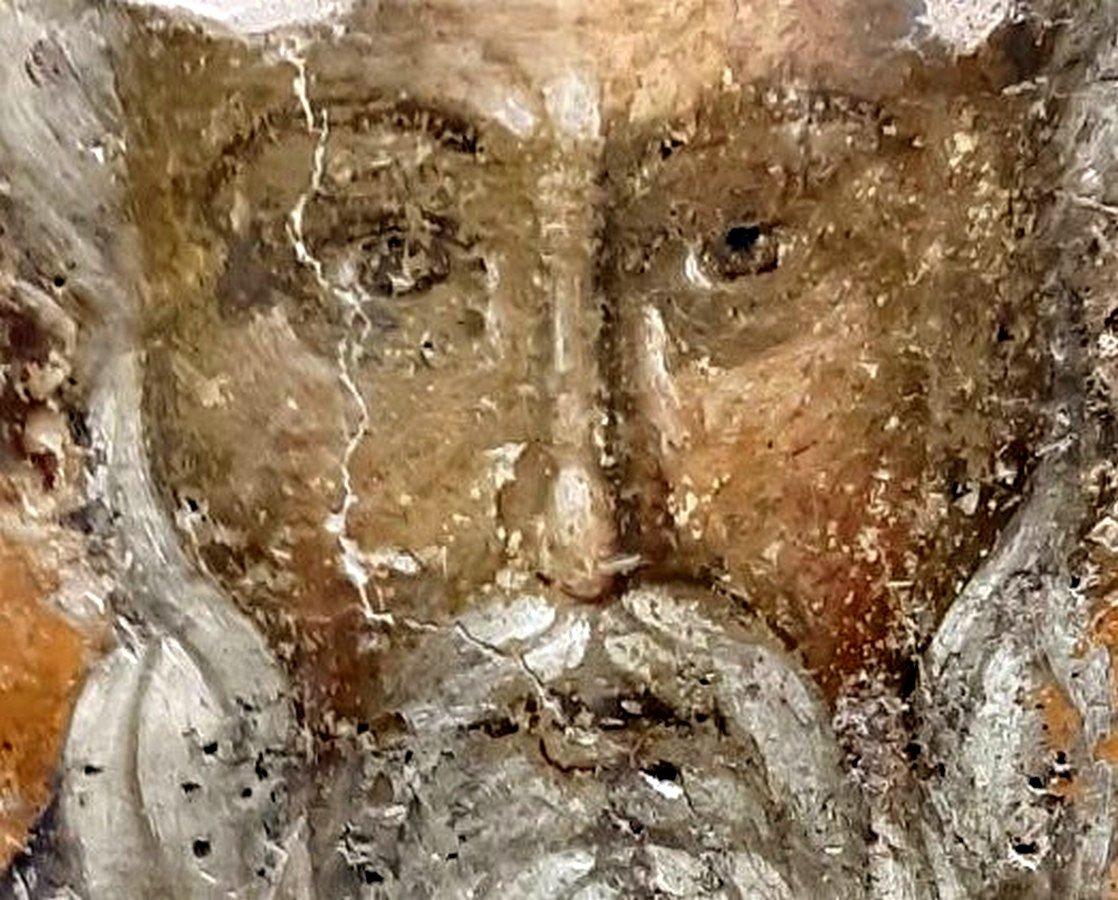 Священномученик Власий, Епископ Севастийский. Фреска церкви Святого Власия в Верии, Греция. Начало XIV века. Иконописец Георгий Каллиергис.