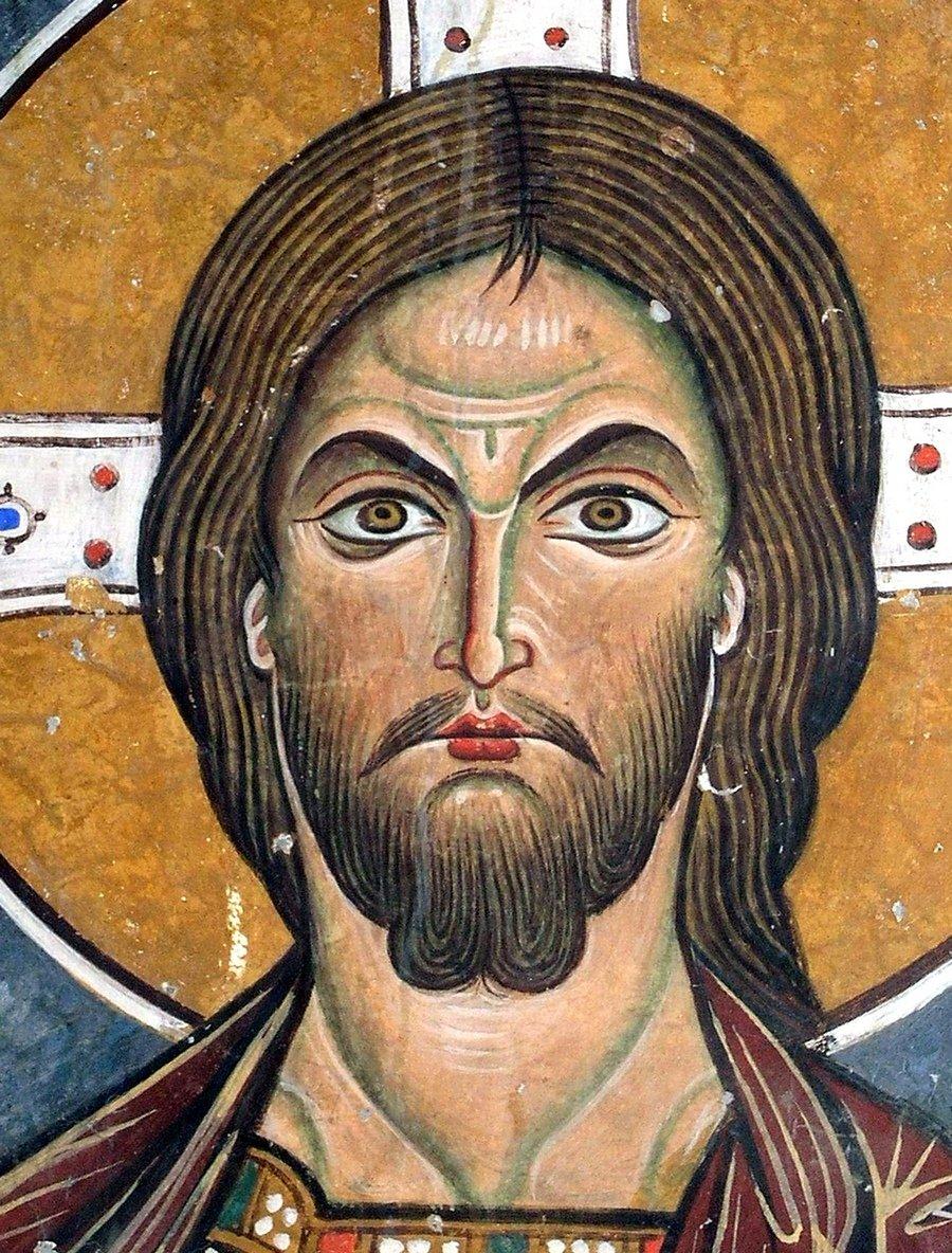 """Лик Спасителя. Фреска церкви Святого Николая """"тис стегис"""" (""""под крышей"""") на Кипре. XII век."""