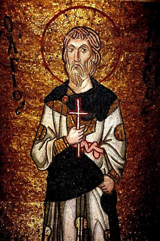 Святой Мученик Пигасий Персидский. Мозаика монастыря Дафни близ Афин, Греция. XI век.