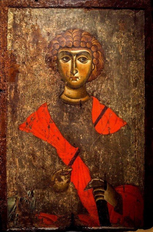 Святой Великомученик Георгий Победоносец. Икона. Византия, XII век. Византийский музей в Верии, Греция.