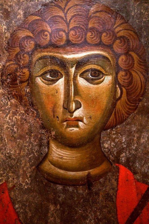 Святой Великомученик Георгий Победоносец. Икона. Византия, XII век. Византийский музей в Верии, Греция. Фрагмент.