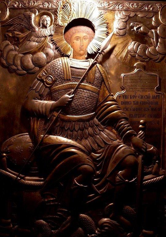 Святой Великомученик Георгий Победоносец. Византийская икона в монастыре Нямц (Нямецкой Лавре), Румыния.
