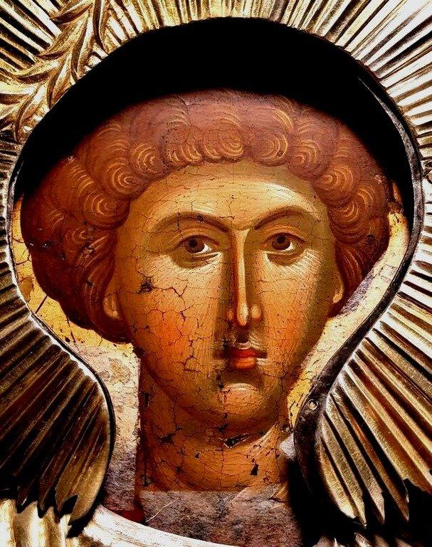 Святой Великомученик Георгий Победоносец. Византийская икона в монастыре Нямц (Нямецкой Лавре), Румыния. Фрагмент.