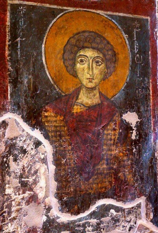 Святой Великомученик Георгий Победоносец. Фреска церкви Святого Стефана в Кастории, Греция. XIII век.