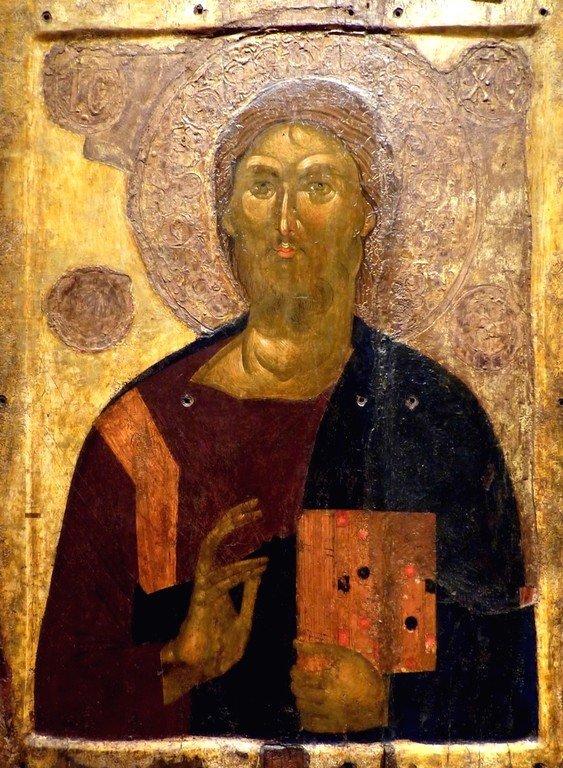 Христос Пантократор. Икона. Византия, XIV век. Византийский музей в Афинах, Греция.