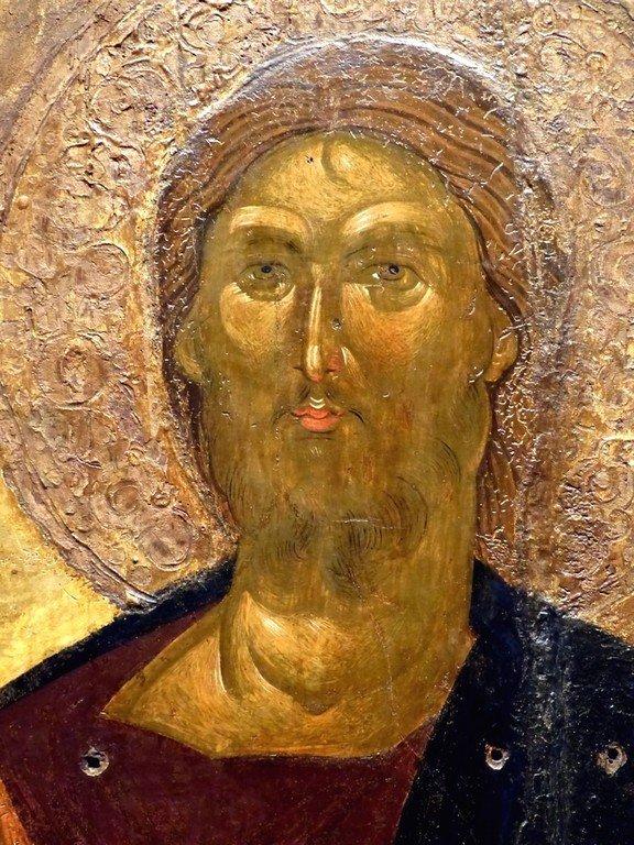 Христос Пантократор. Икона. Византия, XIV век. Византийский музей в Афинах, Греция. Лик Спасителя.
