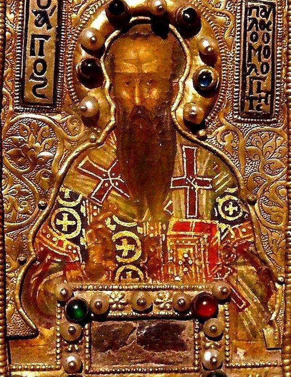Святитель Павел Исповедник, Патриарх Константинопольский. Фрагмент византийской иконы-мощевика. 1370 год.