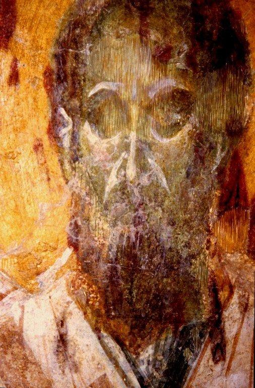 Святитель Павел Исповедник, Патриарх Константинопольский. Фреска монастыря Бачково, Болгария. XI век.