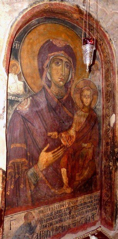 Богоматерь Одигитрия. Фреска церкви Святого Стефана в Кастории, Греция. XIII век.